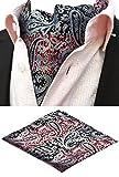 MOHSLEE Men's Sliver Floral 100% Silk Cravat Ties Woven Ascots Pocket Square Set