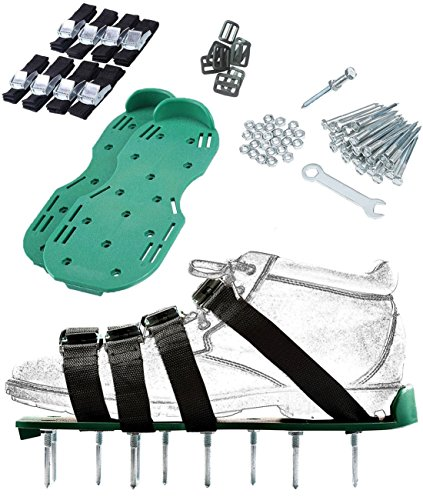 Mochila Lawn Spikes Aerator Shoes 4 Straps for Grass Nylon Plug Lawn Aerator Sandals with Zinc Alloy Buckles by Mochila