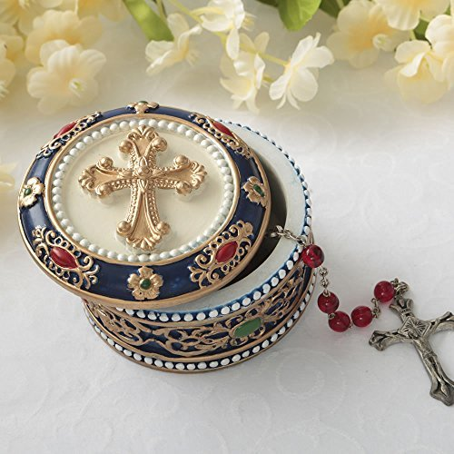 Fashioncraft Golden Cross Rosary Box - 2.75 Trinket Box for Rosary Beads, Keepsakes, Small Jewelry and Mementos
