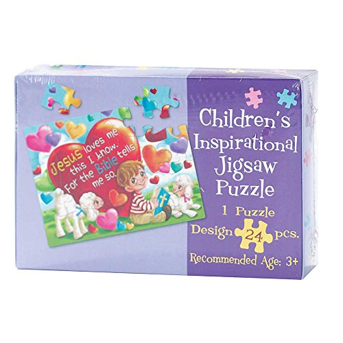 Jesus Loves Me 11 x 8 Cardboard 24 Piece Childrens Puzzle and Devotion (Religious Puzzles Childrens)