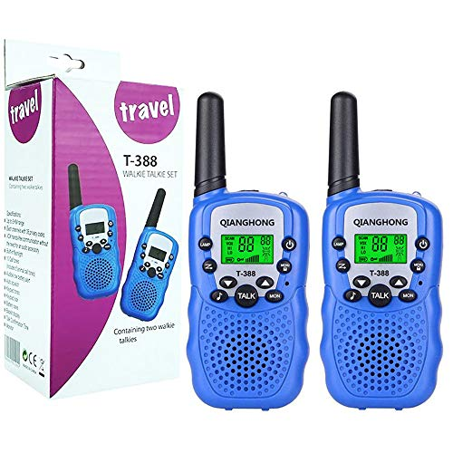 Qianghong T3 Kids Walkie Talkies 3-12 Year Old Childrens Outdoor Toys Mini Two Way Radios UHF 462-467 MHz Frequency 22 Channels - 1 Pair Blue