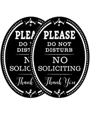 """Foxany No Soliciting Sign for House, Self Adhesive No Soliciting Sticker Sign 6""""×4.5"""", Aluminum Oval Sign for Unwanted Visitors Outdoor Use, Front Door, Window and Office, 2 Pcs"""