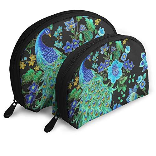 (Pouch Zipper Toiletry Organizer Travel Makeup Clutch Bag Enchanted Plume Beautiful Peacock Black Portable Bags Clutch Pouch Storage Bags)