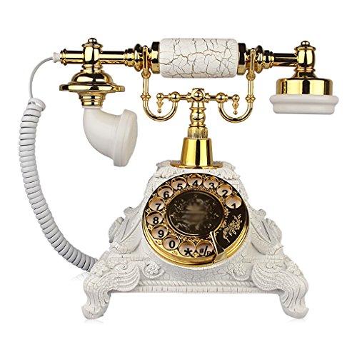 (Fashion Home ZHILIAN Retro Telephone European Gold White Rotate Dial Household Antique Landline Fixed Landline Retro Phone Old Telephone (Telephone Line))