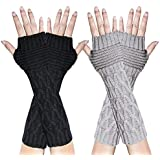 Loritta 2 Pairs Womens Long Arm Warmers Gloves Winter Knitted Fingerless Mittens