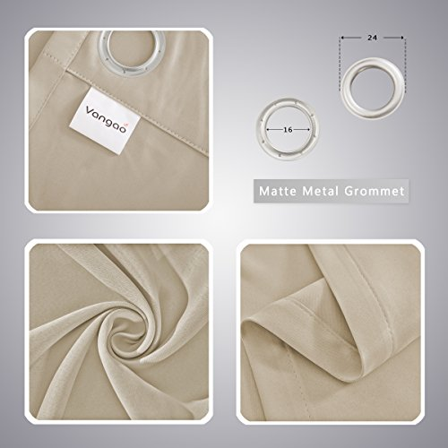 Vangao Room Darkening Blackout Curtains Set of Two Panels 52x84 Inch Beige Solid Grommet Top Window Draperies/Drapes/panels for Bedroom/Living Room