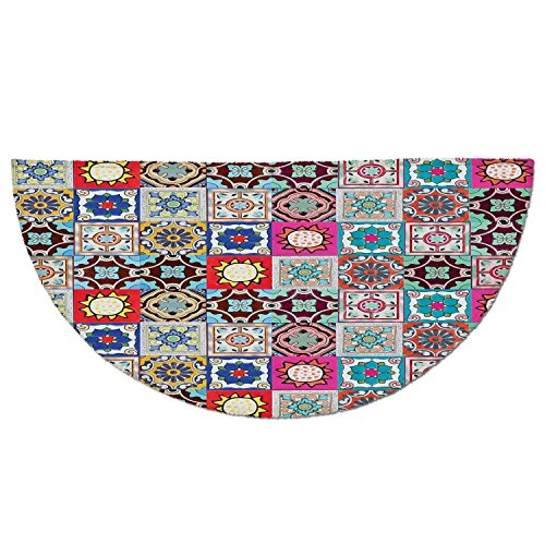 Collection Ceramic Tile - Half Round Door Mat Entrance Rug Floor Mats,Moroccan,Collection of Ceramic Mosaic Tiles and Figures with Mathematical Geometric Artful,Multicolor,Garage Entry Carpet Decor for House Patio Grass Water