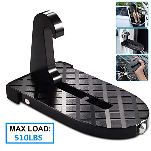 Latch Roof (Car Doorstep Vehicle Rooftop Doorstep Hooked on-on Latch Vehicle Folding Ladder with Safety Hammer Foot Pegs Heavy Duty Car Door Step Hook Vehicle Foot Pedals Easy Access to Car roof rack for Car Jeep)