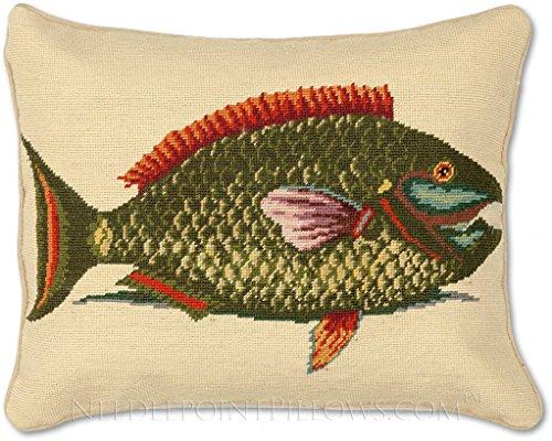 Handmade 100% Wool Needlepoint Camp Lodge Fishing Ocean Coastal Beach Nautical Fish Throw Pillow. 16