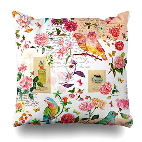Ahawoso Throw Pillow Cover Garden Pattern Watercolor Birds Flowers Butterflies Scraps Travel Pieces Old Texts Postage Stamps Home Decor Pillowcase Square Size 18