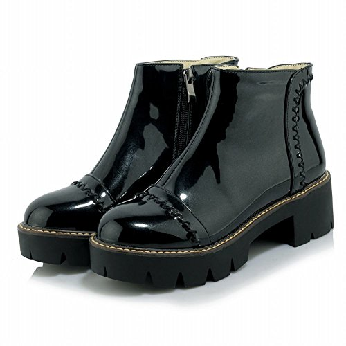 Heel Carolbar Stylish Zip Charm Chic Boots Mid Women's Black Short Platform qTSwTXr