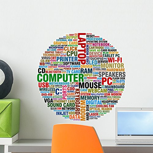 Wallmonkeys Word Collage About Computer Technology Wall Decal Peel and Stick Graphic WM203595 (18 in H x 18 in W)