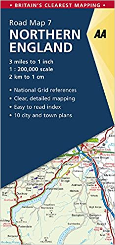 northern england road map northern england 7 aa road map britain aa publishing 9780749578954 amazoncom books