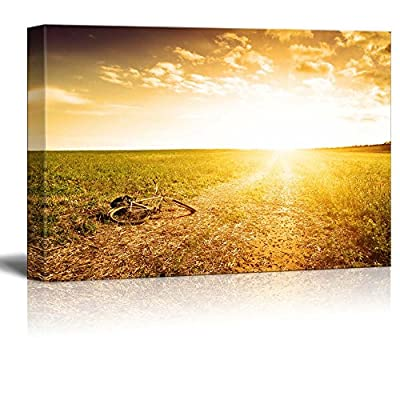 Gorgeous Craft, Made For You, Beautiful Scenery Landscape Golden Dawn on Rural Road in Field Wall Decor