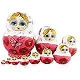 Winterworm® 10 layers Beautiful Pink Butterfly Wooden Russian Nesting Dolls Children Kids Toys Gift Matreshka Handmade Hand-painted Home decoration (White)