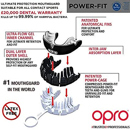 Opro Power-Fit Sports Mouthguard Adultos Unisex