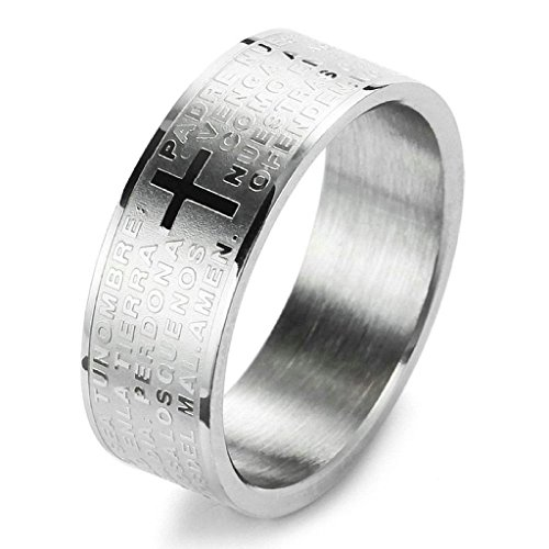 Aooaz Stainless Steel Rings For Men Silver Bible Lords Prayer Cross Vintage Bands Size 8 Free Engraving