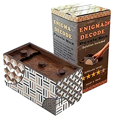 Enigma Decode Secret Puzzle Box - Money and Gift Card Holder in a Wood Magic Trick Lock with Two Hidden Compartments Brainteaser Toy