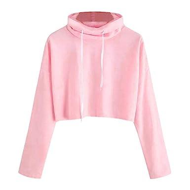 Amazon.com: Clearance! Sunfei Women Casual Solid High Neck Drawstring Crop Blouse Sweatshirt: Clothing