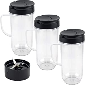 3 Pack 22 oz Tall Cup with Flip Top To-Go Lid and Cross Blade Replacement Parts for Magic Bullet 250W MB1001 Blenders