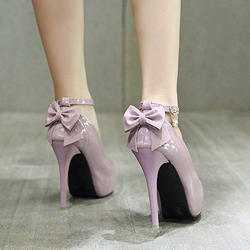 ad scarpe impermeabile tacco con UE una singolo RUGAI tacco con sottile Pink rotonda parola alta con scarpe Testa BngwWqwH