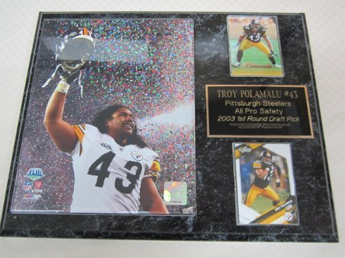 - J & C Baseball Clubhouse Steelers Troy Polamalu 2 Card Collector Plaque #1 w/8x10 Super Bowl Photo