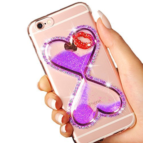 iPhone 6S/6 Plus Case Clear,Vandot Bling Glitter Transparent Luminous Diamond Heart-shaped Quicksand Hourglass Timer Sand Clock Soft TPU Dynamic Floating Protective Skin Cover-Purple (Clock Crystal Truly)