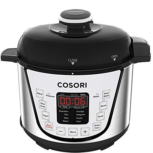 COSORI 2.1 Qt 7-in-1 Electric Pressure Cooker with Instant Stainless Steel Pot, Slow Cooker, Rice Cooker, Sauté, Steamer, Yogurt Maker & Warmer, Extra Sealing Ring, Glass Lid, Recipe, 2-Year Warranty (Cooker High Rice Pressure)