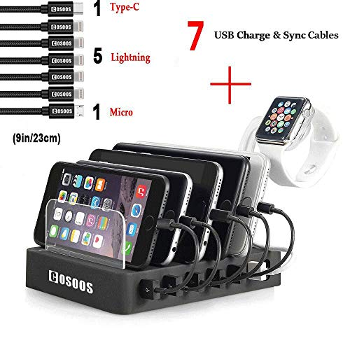 COSOOS Charging Station with 5 lphone Cables,1 Type-C,1 Micro B Cable,iWatch Holder,6-Port USB Charger Station,Charging Docking Stand,Best Electronics Organizer for Multiple Devices,Phones,Tablets by COSOOS
