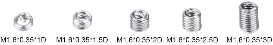 Nuts 100pcs M1.6 Stainless Steel SS304 Coiled Wire Helical Screw Thread Inserts New Wholesale Color: 03
