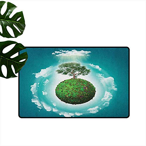 RenteriaDecor Tree of Life,Kitchen Mat Grassy Globe World with Plant Clouds in Air Science Fiction Mother Earth 31