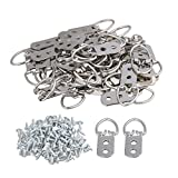 Silver Double Hole D Ring Iron Picture Frame Hanger Hooks Pack of 50