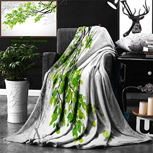 Ralahome Unique Custom Digital Print Flannel Blankets Nature Decor Twiggy Spring Tree Branch Refreshing Leaves Summer Peace Woods G Super Soft Blanketry Bed Couch, Throw Blanket 70 x 50 Inches