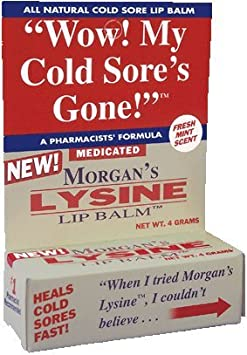 Morgans Lysine Lip Balm Medicated, 0.14 OZ PACK OF 4