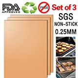 Cociy Copper Grill Mat Chef BBQ Accessories Magic Miracle Non Stick Grilling Barbeque Mats Tools Baking For Gas Charcoal Electric Hibachi Barbecue Grills Set Of 3 0.25MM Thick 15.75