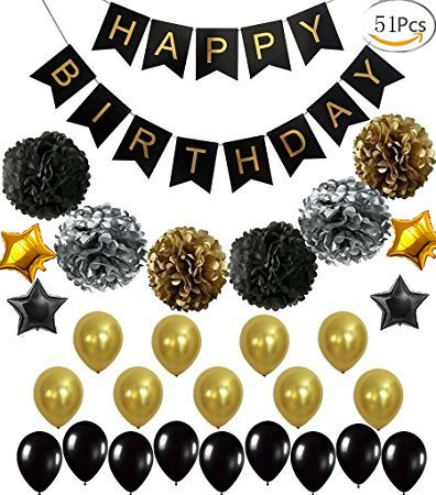 51PCS Perfect Adult Birthday Decorations | Happy Birthday Banner | Black,Gold Balloons Star Balloons and Paper Pom Poms | Party Supplies for 30th, 40th, 50th, 60th Birthday Decoration for $<!--$14.99-->
