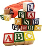 30 Alphabet Blocks with Letters Colors by Skoolzy. Wooden ABC Toddler, Preschool & Kindergarten Building Toy. Wood Reading Stacking with Carrying Tote
