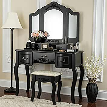 Fineboard CFB VT04 BK Vanity Beauty Station Makeup Table And Wooden Stool 3  Mirrors
