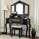 Fineboard CFB-VT04-BK Vanity Beauty Station Makeup Table and Wooden Stool 3 Mirrors and 5 Organization Drawers Set, Black