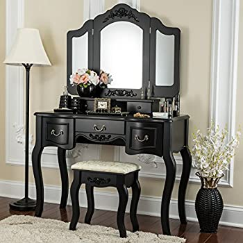 amazon com black metal bedroom vanity with glass table 11700 | 51158p8apal sl500 ac ss350