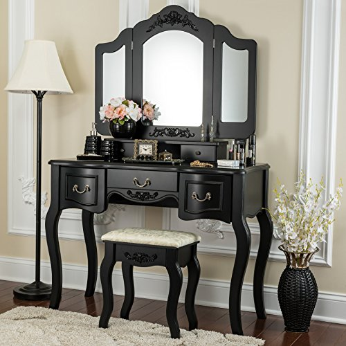 Fineboard CFB-VT04-BK Vanity Beauty Station Makeup Table and Wooden Stool 3 Mirrors and 5 Organization Drawers Set, Black - Bedroom Vanity