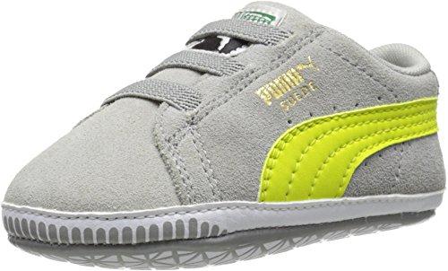 PUMA Suede Crib Shoe (Infant/Toddler),Limestone Gray/Sulphur Spring,5 M US Toddler