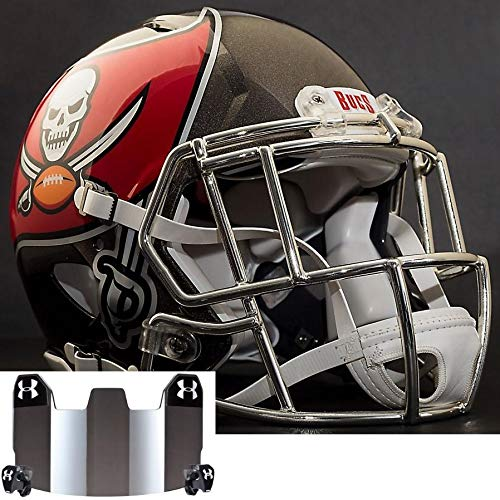 Riddell Tampa Bay Buccaneers NFL Replica Football Helmet with S2EG-SW-SP Football Helmet Facemask/Faceguard and Mirrored Eye Shield/Visor (Tampa Helmet Replica Football Bay Buccaneers)