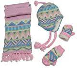 N'Ice Caps Little Girls and Infants Sherpa Lined Knitted 3 PC Set with Designs (4-7yrs, Pink/Light Turq/Purple/Multi)