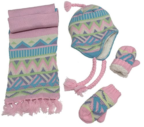 N'Ice Caps Little Girls and Infants Sherpa Lined Knitted 3 PC Set with Designs (2-4yrs, Pink/Light Turq/Purple/Multi)