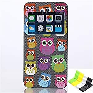 Owl Pattern PU Leather Full Body Case Have A Perfume and Phone Holder for iPhone 6 Plus