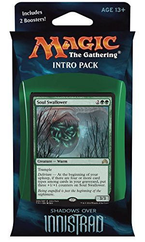 Magic the Gathering: MTG Shadows over Innistrad: Intro Pack / Theme Deck: Horrific Visions (includes 2 Booster Packs & Alternate Art Premium Rare Promo) Green / Black - Soul Swallower