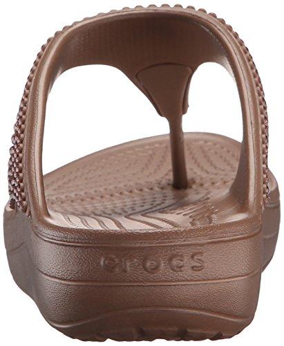 0207cb27b3d42 ... Crocs Sloane Diamante Flip W - sandalias con plataforma y cuña Mujer  Bronze ...
