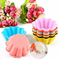 10pcs Silicone Flower Shape Cake Mold Mould Pudding Muffin Baking Mold
