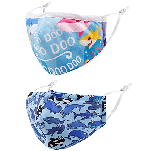 Reusable Kids Cloth Face Masks Animals Blue Sharks Funny Designer Breathable Cute Washable Adjustable Cotton Fabric Childrens Toddler Youth Camouflage mascaras para niños, Gift for Boys Girls